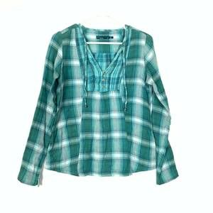Prana Green Plaid Top Small Womens Teal Flannel